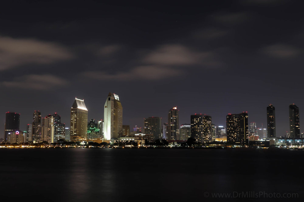 Nighttime/Stock Photo: Downtown San Diego, CA from Coronado Island © 2017 www.DrMillsPhoto.com, Dr. Steven Mills, D.C.