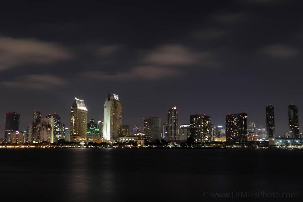Nighttime/Stock Photo: Downtown San Diego, CA from Coronado Island © 2017 www.DrMillsPhoto.com, Dr. Steven Mills, D.C.