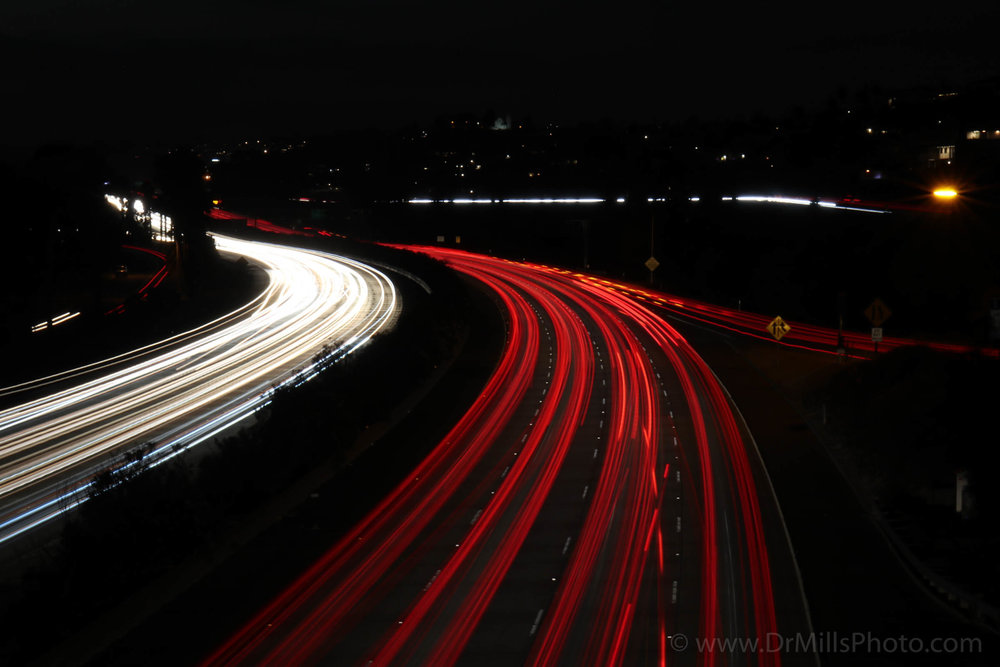 Nighttime/Stock Photo: I5 near Mission Bay, San Diego, CA © 2017 www.DrMillsPhoto.com, Dr. Steven Mills, D.C.
