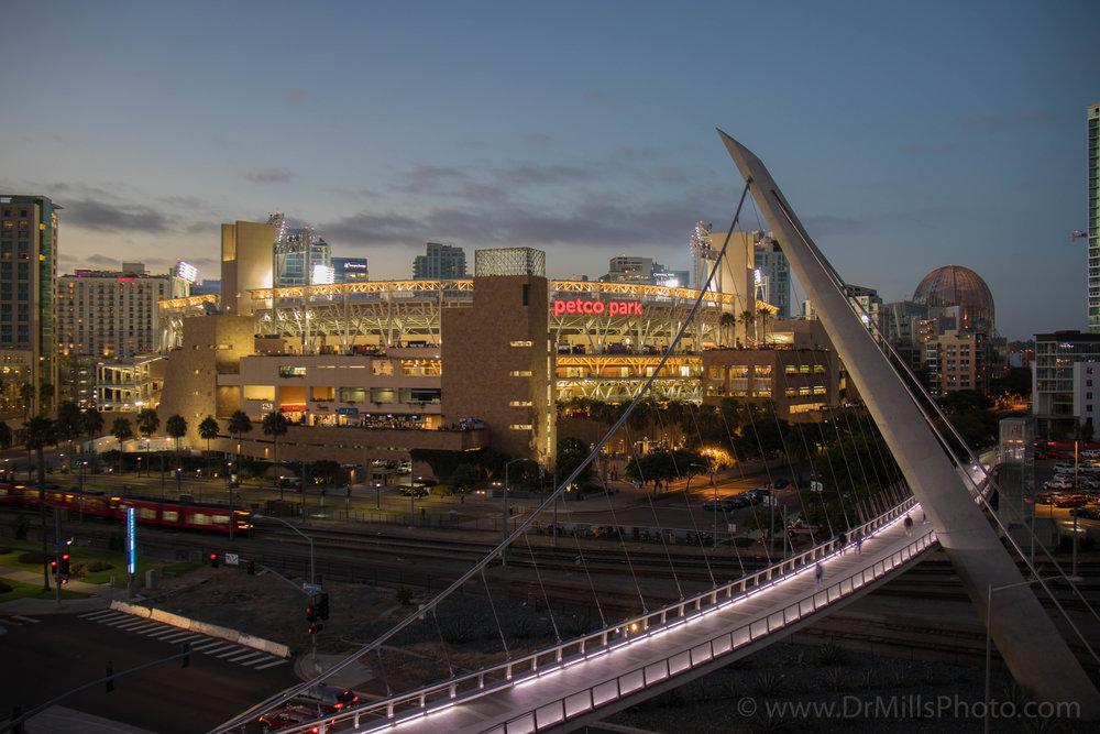 Nighttime/Architecture: Bridge to Petco Park, San Diego, CA © 2017 www.DrMillsPhoto.com, Dr. Steven Mills, D.C.