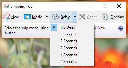 windows snip tool delay