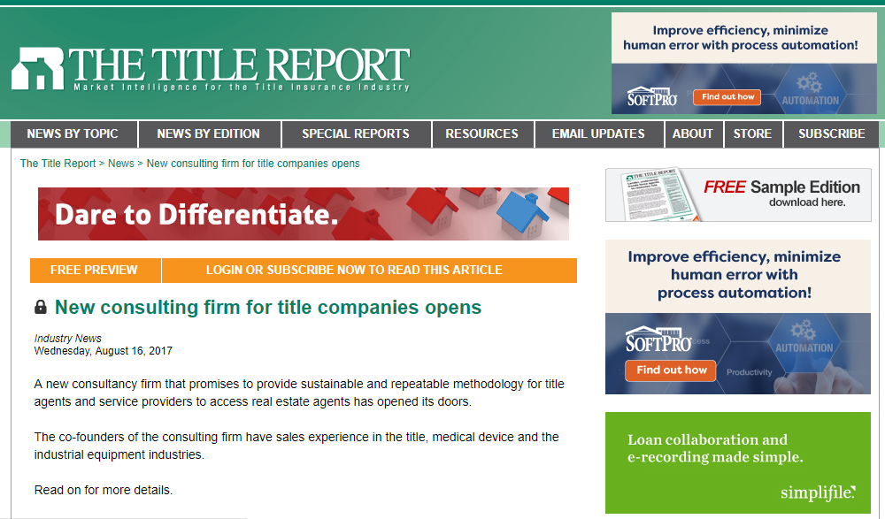 New consulting firm for title companies opens - Click button to read more!
