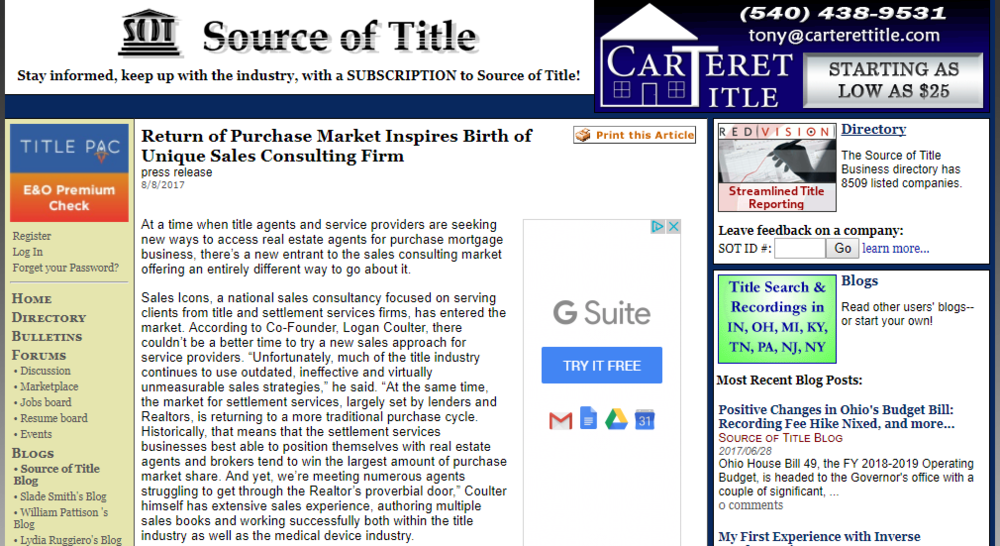 Return of  purchase market inspires birth of unique sales consulting firm - Click button to read more!