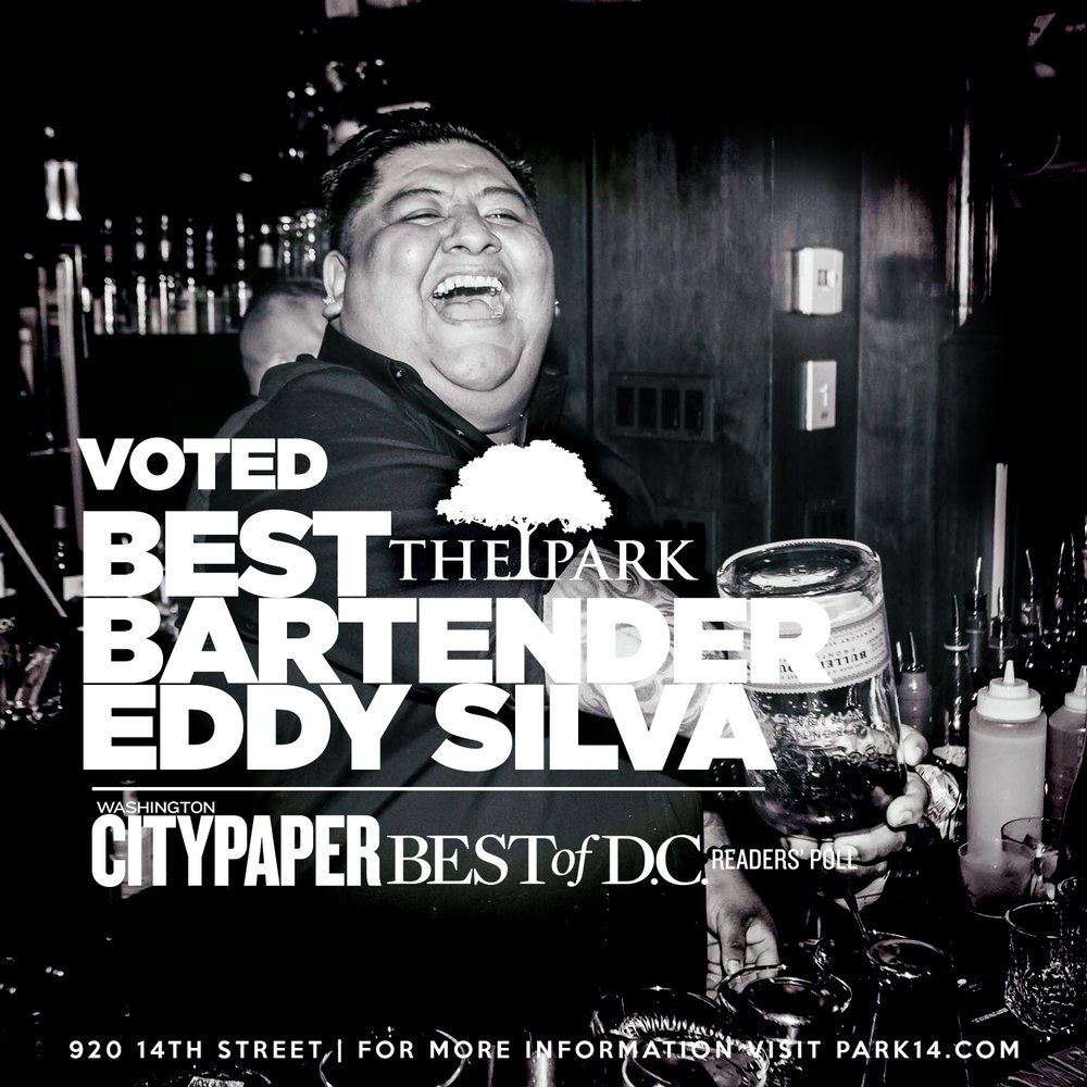 Voted Best Bartender - Our very own Bartender Eddy Silva, Washington City Paper Best of D.C.