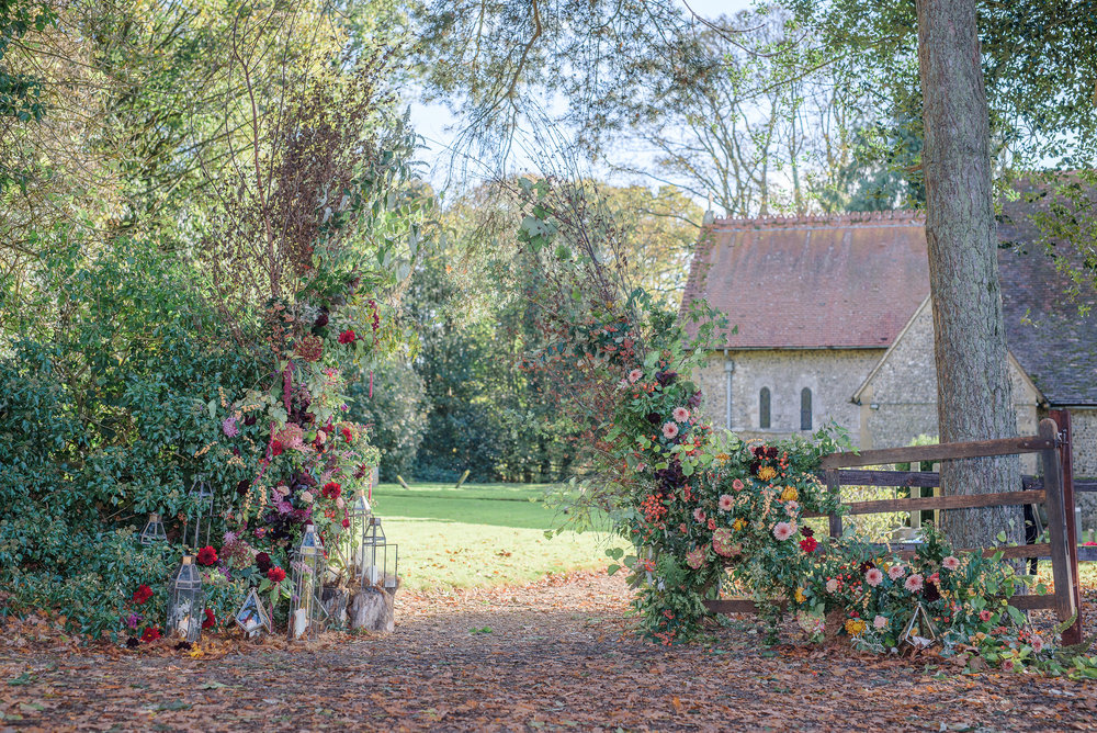 Wedding flowers and floral wedding arch
