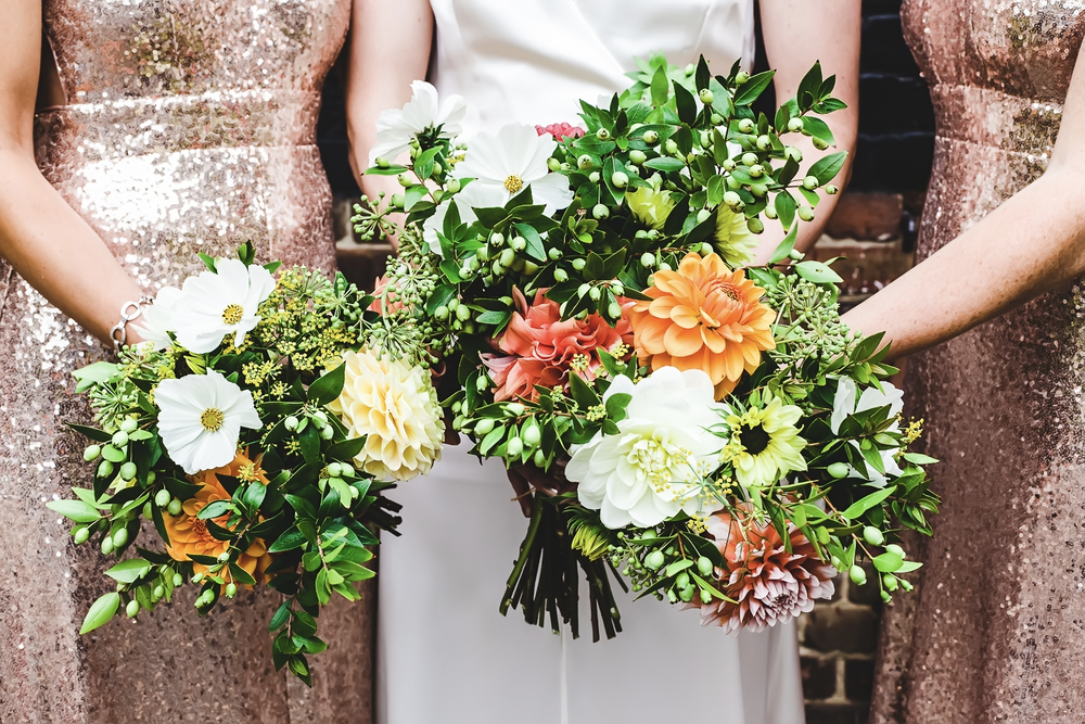Seasonal & sustainable London grown wedding bouquet and wedding flowers
