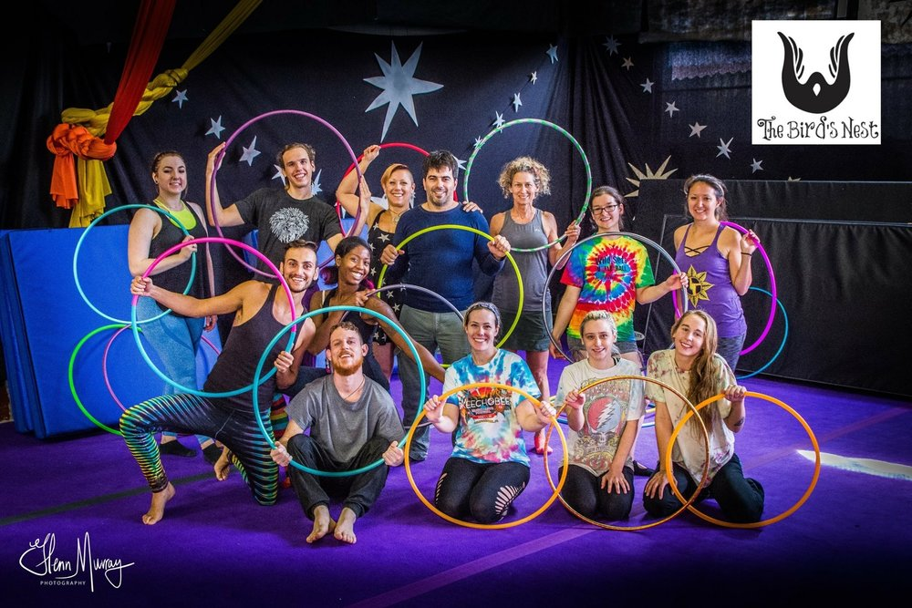 - Donation-based Hoop Jam every Saturday 7-9:00pm. All levels are welcome! We have some hoops you may borrow, or bring your own flow props such as fans, poi, or baton. Please, no whips, rope and dart, or fire props. No one will be turned away for lack of funds.