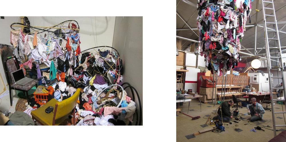 Dean Schulz and Andrew Hustwaite constructing Dirty Panties Tornado.  Used panties, metal, bamboo, plastic tubing, wire, motor, smoke machine and strobe light | 16.5 x 5 feet | 2011