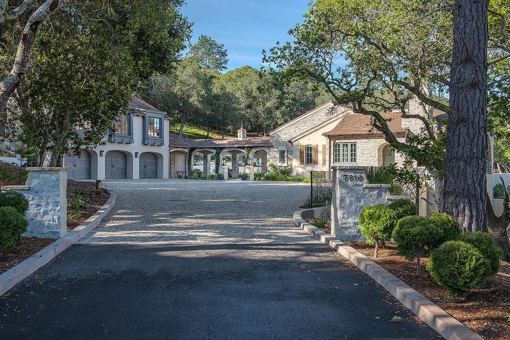 Smith Monterra Residence - arrival on gravel driveway to French Country estate