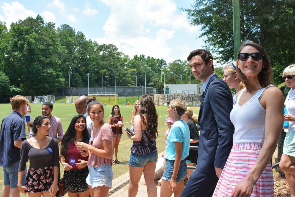 """Democrat Jon Ossoff and his fiancée, Alisha Kramer, arrive at a """"Rock Your Ossoff!"""" rally aimed at getting millennials to vote in the June 2016 race for Georgia's 6th congressional district."""