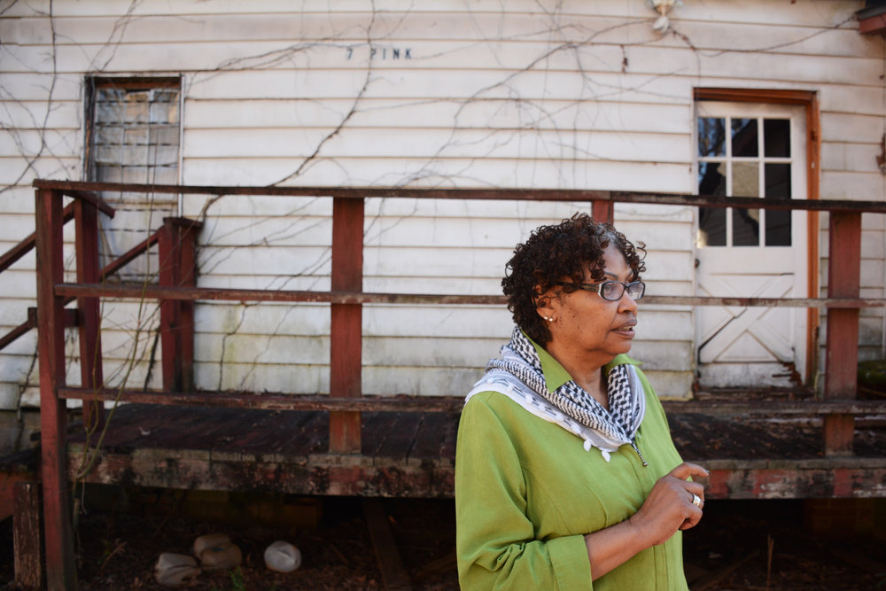 Terry Gray, Porterdale, Georgia's first African-American city council member, stands in Rose Hill, a historic African-American neighborhood she's trying to save.