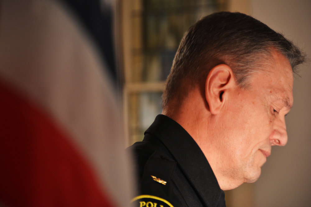 Chief Lou Dekmar delivers his apology for the LaGrange Police Department's role in the 1940 murder of Austin Callaway.