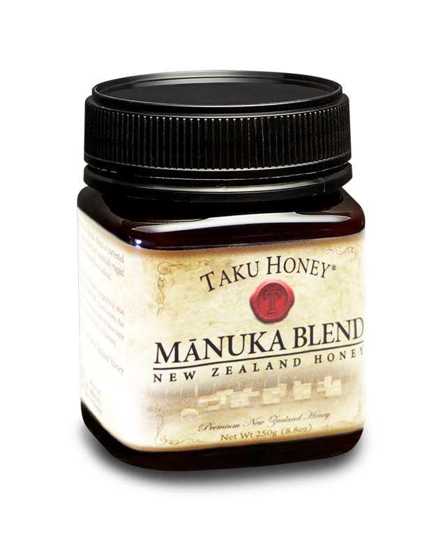 Mānuka Honey Blend  A delicious mix of mānuka honey and other herbaceous New Zealand bush honeys. The result is a dark creamy honey with a distinctive rich taste.