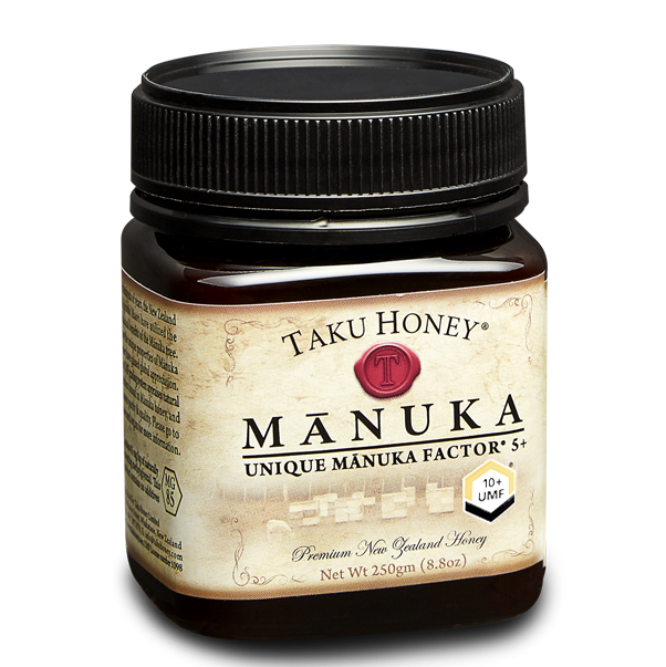 Manuka 10+  Taku Honey® Mānuka 10+ is a premium mānuka honey independently tested and guaranteed to at least UMF® 10 level.  Available in 250g, 500g – presented in a beautiful gift box Also available in 1kg