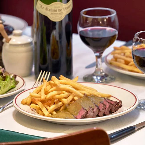 Paris  Steak frites  Find a table at   Le Relais de l'Entrecote