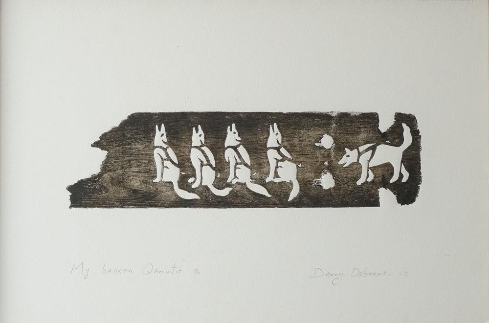 My Broken Qamutik,Woodcut, 2003.