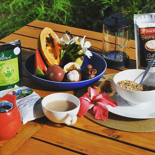 Breakfast at #Wompoo Eco Retreat #Sipping Duck coffee #The Tea Chest #Daintree Tea #tropica fruit #Daintree Marketing Cooperative #Port Douglas Daintree #using local products # Daintreerainforest # views