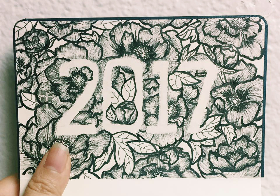 """""""Hello 2017"""" Experimenting with negative space and flower illustrations"""