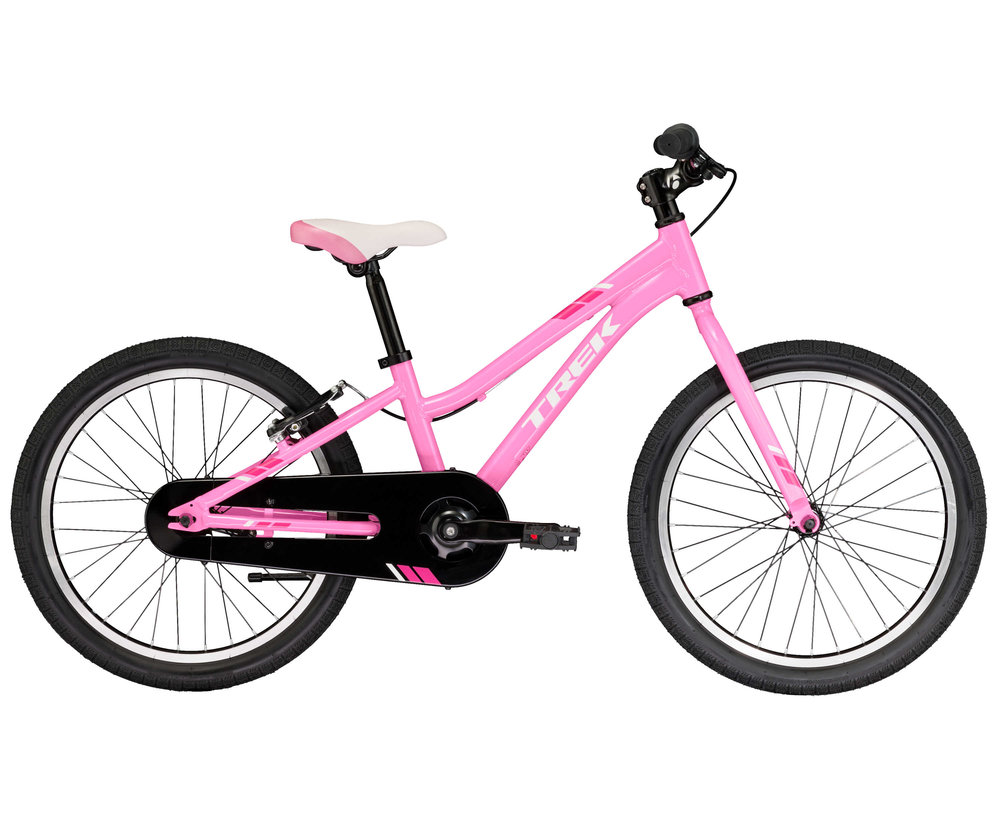 Precaliber 20 Girl's will have your little rider begging to go out for a pedal on their first real big kid bike. It's a great transition model from training wheels. It has one speed, a coaster brake, and components that are dialed to fit your kid now and easy to adjust as they grow. For kids ages 6-8, between 45-52˝ tall.