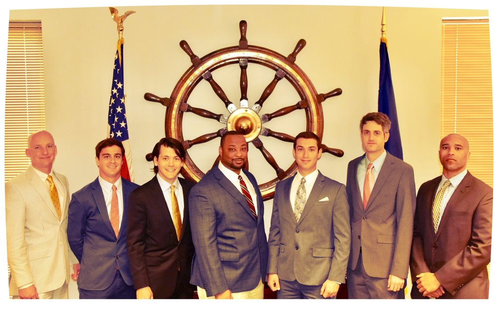 Left to Right:William G. Clasen II, Richard E. Arnoult II, Blase P. Connick, Roy E. Vance II, Albert W. Short II, David R. Plauche, Aaron L.Johnson