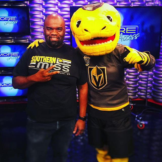 Go, Knights! Go! @vegasgoldenknights #chance #nhl #playoffs #mascot #lasvegas #fox @morefox5 #usm  #southernmiss