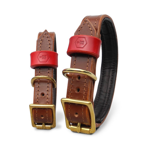 monogrammed dog collars. Monogram Luxury Padded Bridle Leather Dog Collar (Chestnut Brown) Monogrammed Collars A