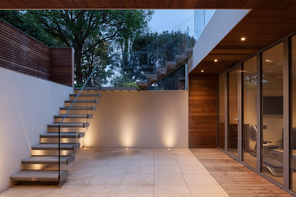 Smart Lighting - Equippd sunken courtyard