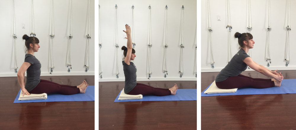 This is a typical Iyengar Yoga sequence used to teach how to lengthen the side trunk before extending fully forward.