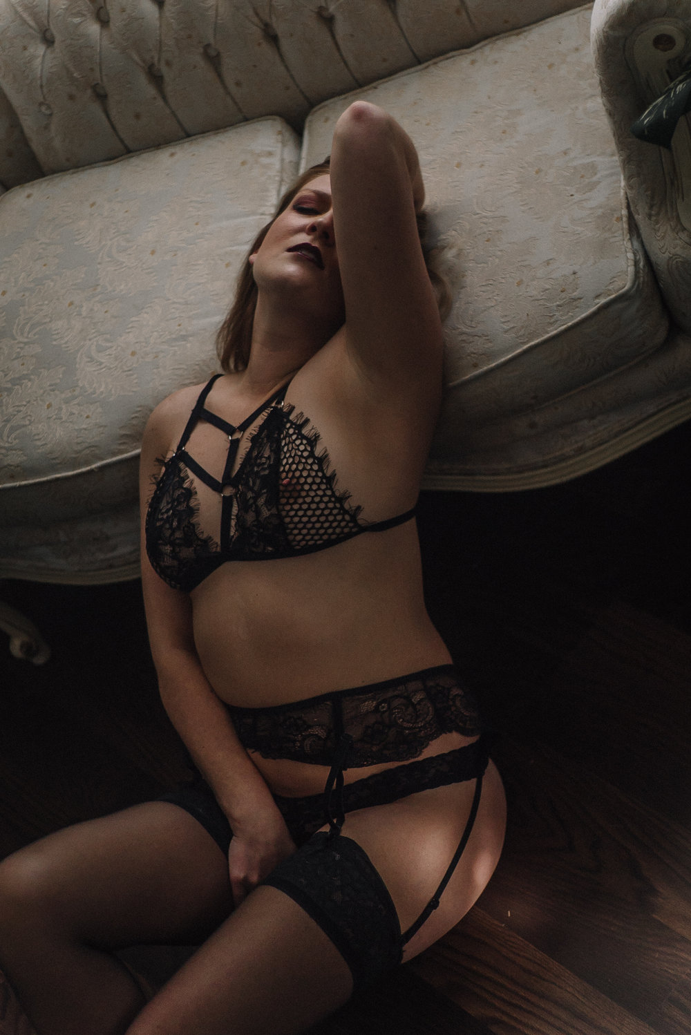 Sultry intimate portraiture for women north carolina boudoir studio photography