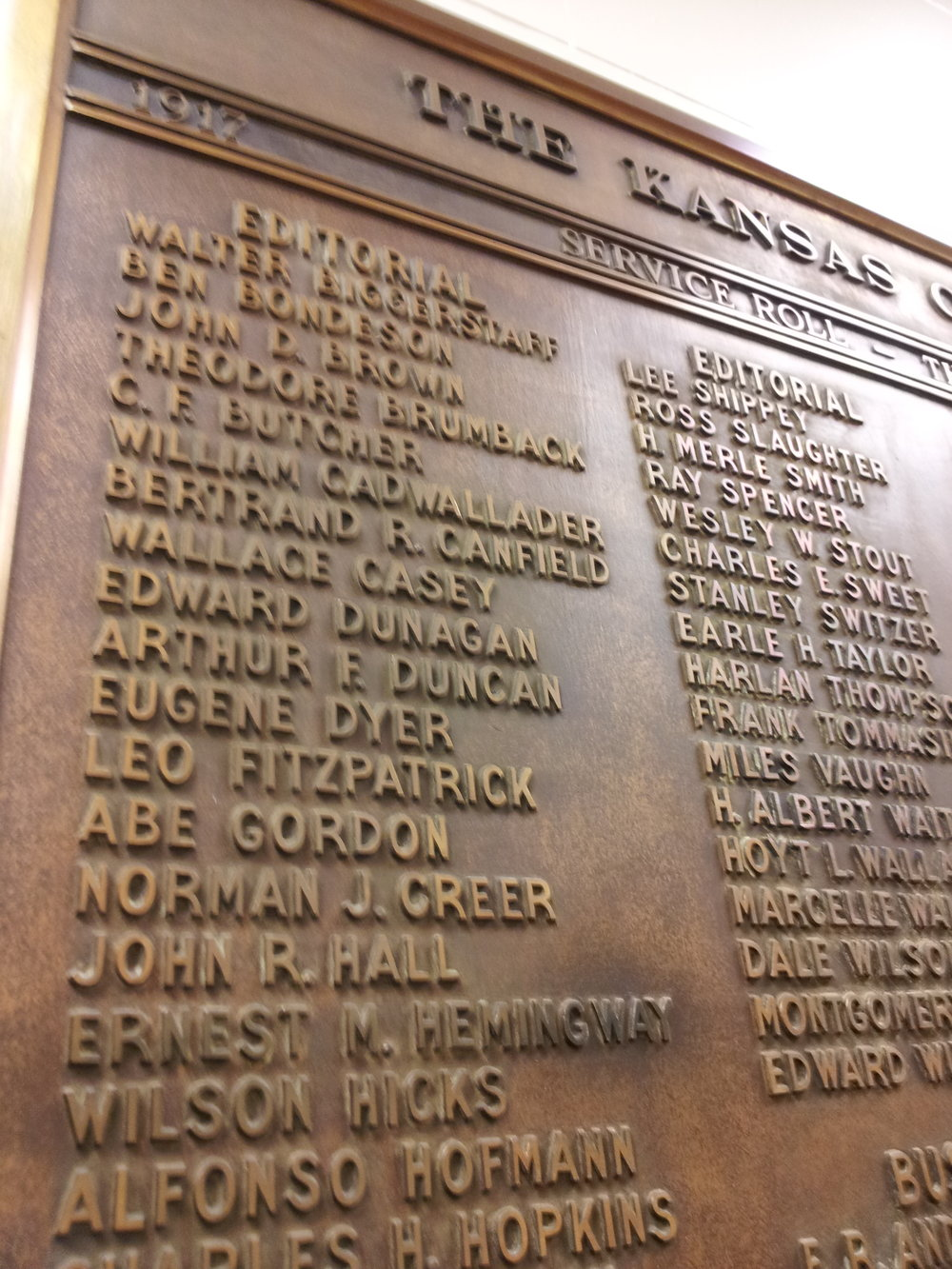 A WWI service plaque in the historic Kansas City Star building keeps the Hemingway link alive. I'll be curious to know where the plaque will go when a new owner takes over the building..
