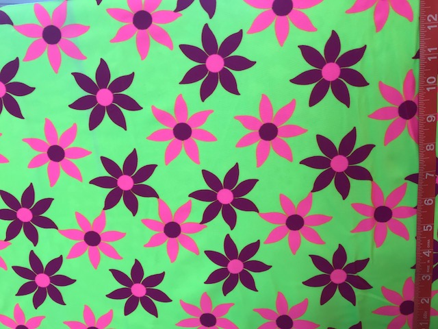 Floral Delight 083        neon green, deep pink,