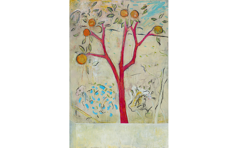 Orange Tree with Birds and Blue Bush