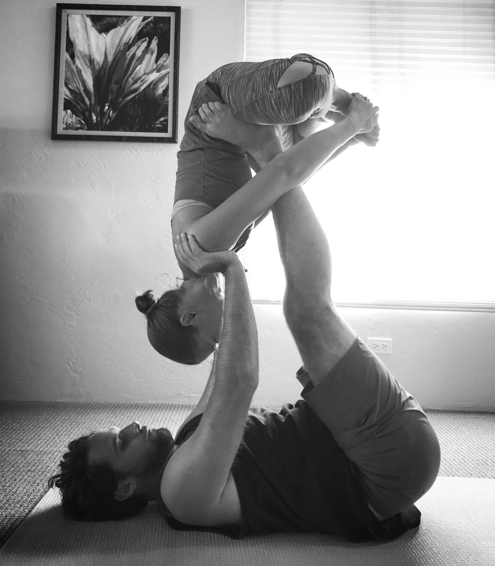 This is such a perfect metaphor. I'm being an idiot, as I have no idea how to do yoga, and he's holding me up like it's nothing.