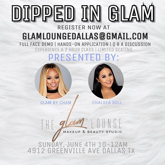 ‼️We opened a morning class 10am -12pm so no one misses out! You ladies booked up the first class quick!! Thank you for your support and tag a friend that needs to learn some makeup tips for applying their own makeup! This is a beginner class for the everyday woman 💋 #DippedinGlam #GlambyCham #chalseadollglam #glamloungedallas Email glamloungedallas@gmail.com to book your spot!