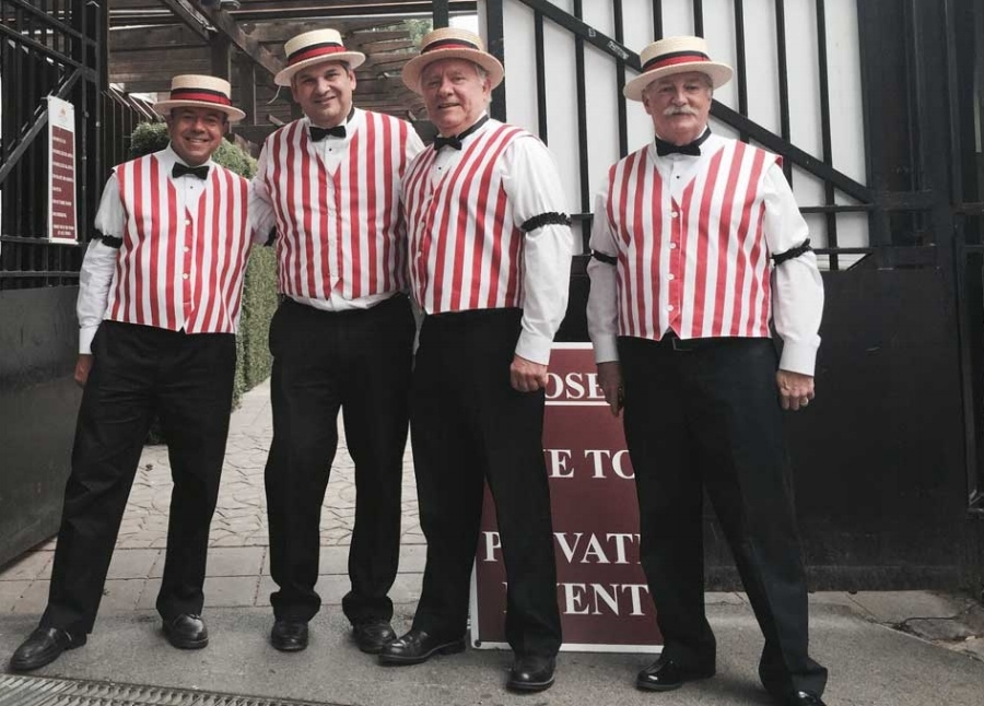 Barbershop Quartet - WHITE ROSES Barbershop Quartet sings a wide variety of music..50's doo-wop, Patriotic, American standards..and great arrangements of Barbershop Music. White Roses has a collection of over 100 songs to choose from bit that's not all…  custom tailored lyrics can be part of the presentation at your event, as well! From Somewhere Over the Rainbow to Under the Boardwalk, let the White Roses take your guests on an incredible musical journey!