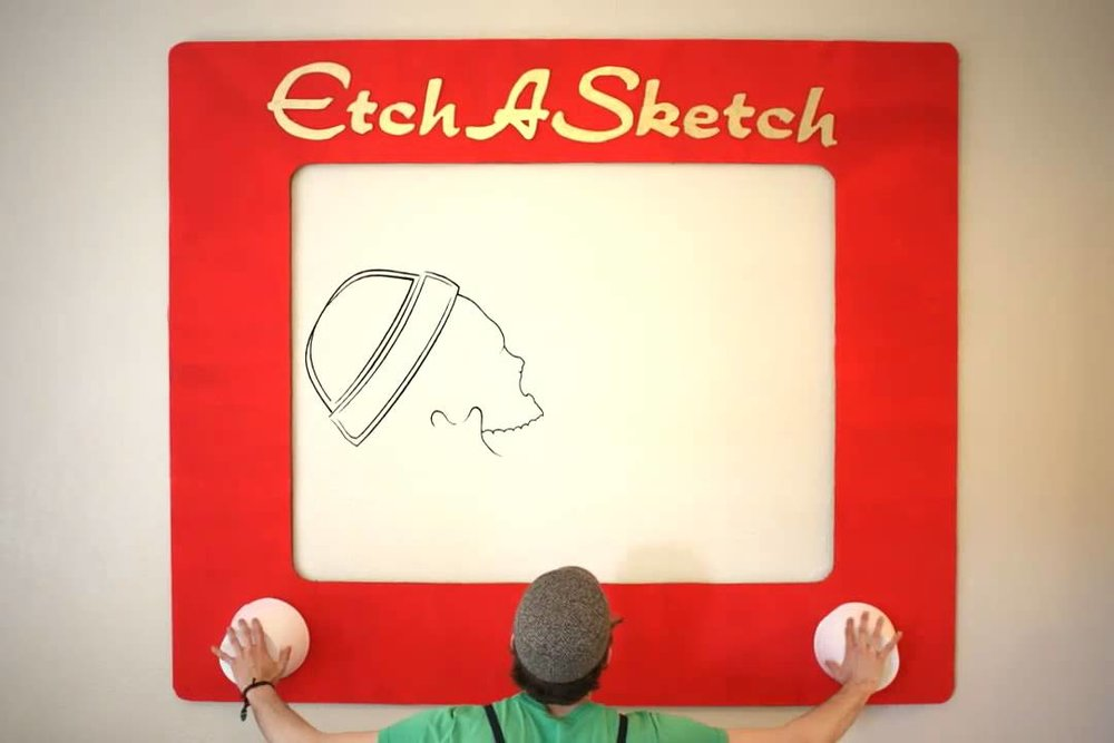 Giant Etch-a-sketch - Create a giant piece of art with our giant etch-a-sketch. Here's an iconic game of the past coming back in a HUGE way!