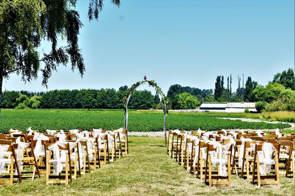 a wedding ceremony in the field