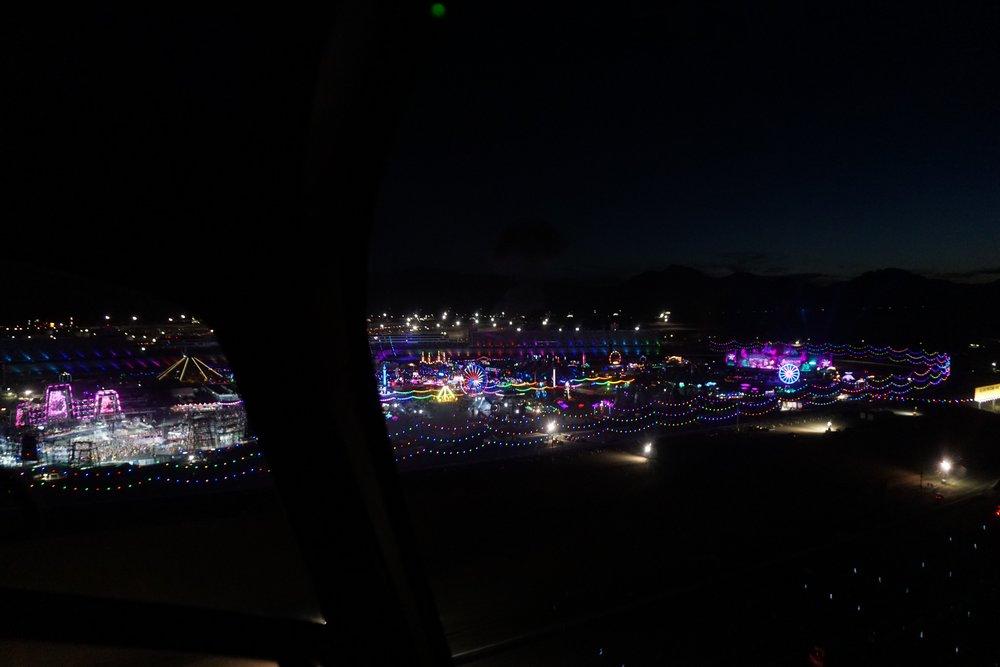 Helicopter Birdseye leaving the festival