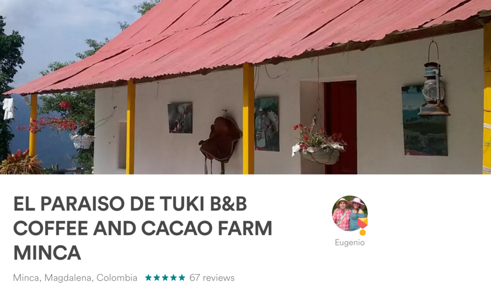We use AirBnB all over the world! One of our favorite stays was on a Coffee Farm in Minca, Colombia.