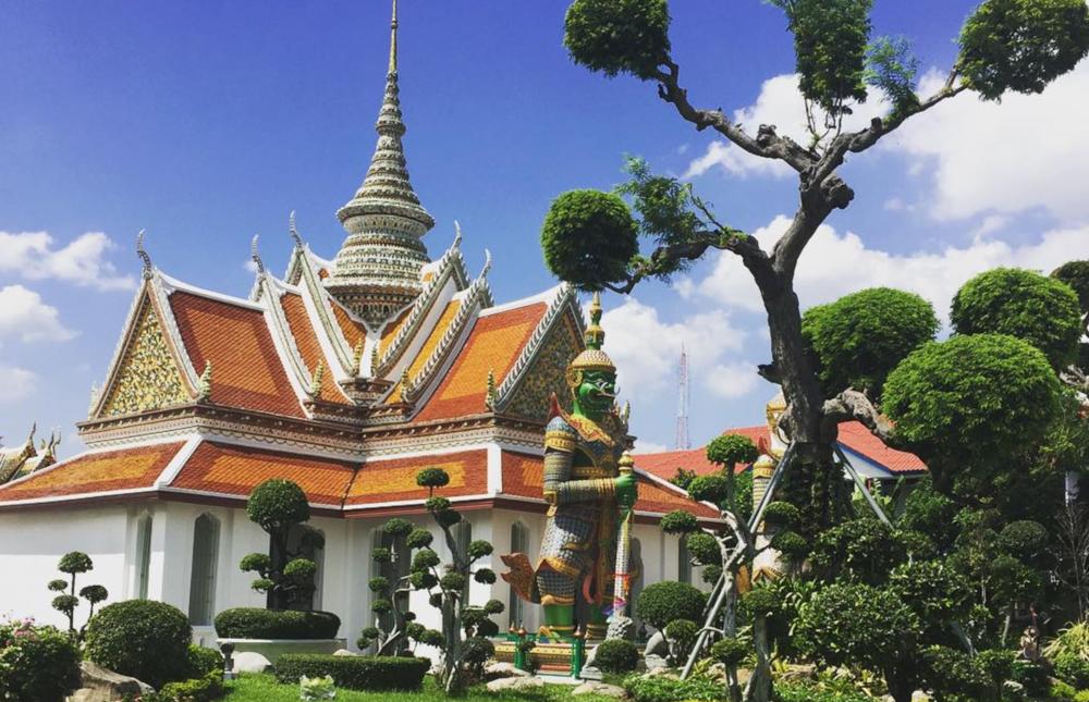 Beautiful temple along the Chao Phraya River in Bangkok, Thailand.