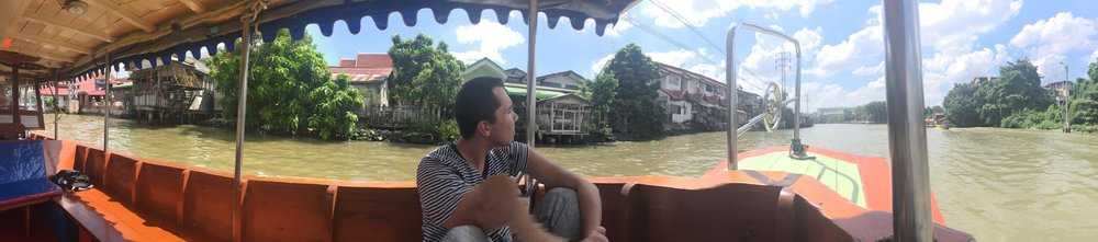 Jimmy drifting along the Chao Phraya river on our first day in Bangkok - utterly exhausted, completely overwhelmed, and incredibly excited!