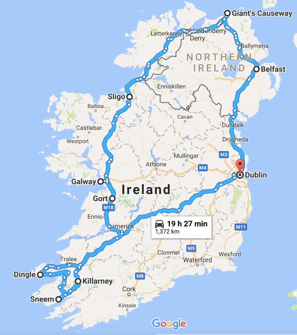 Our Road Trip Route in Ireland
