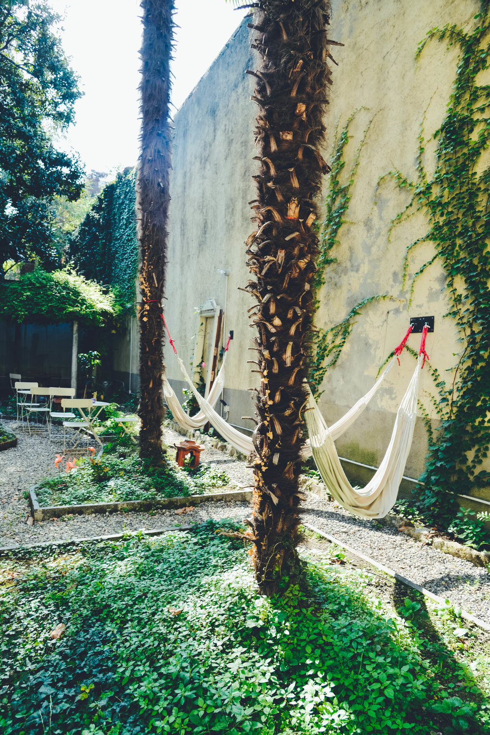 Hammocks in Ostello Bello Lake Como's Secret Garden.