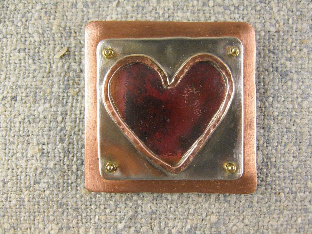 reflective heart pin