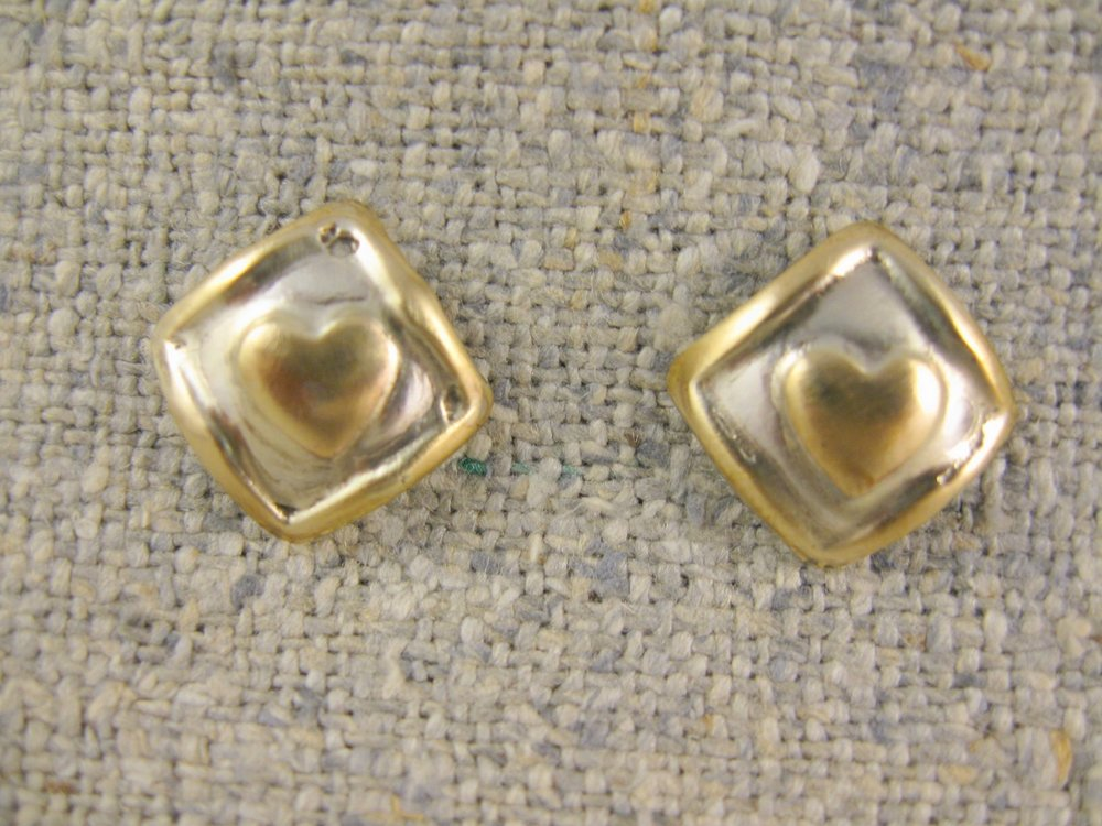 heart squares earrings