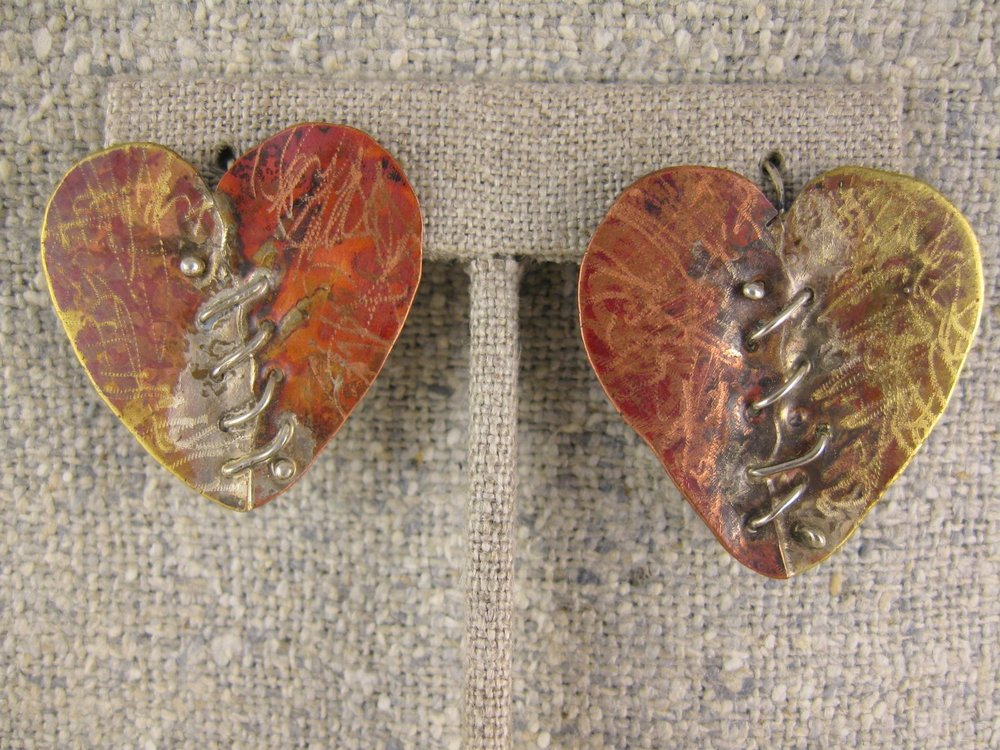 stitched heart dangles