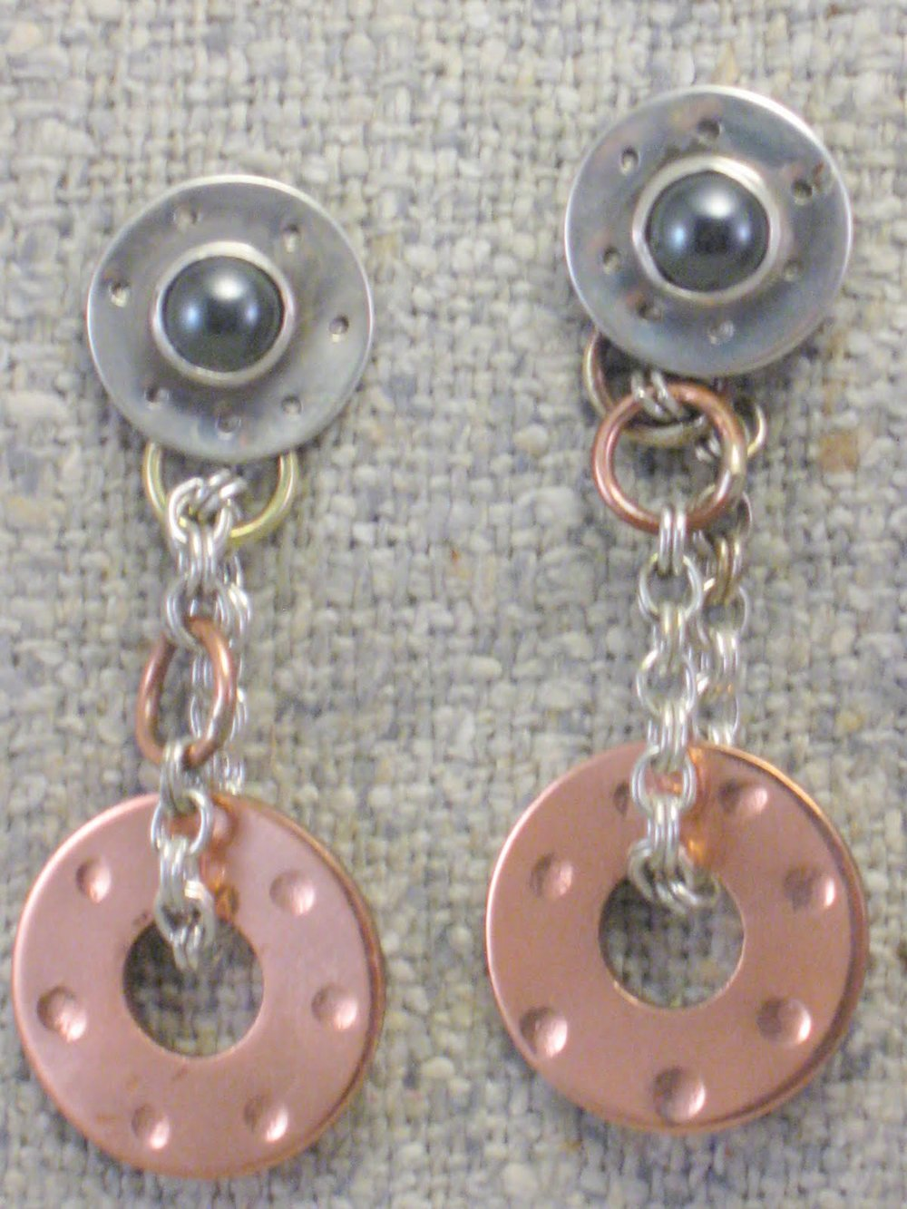 stone drop washer earrings