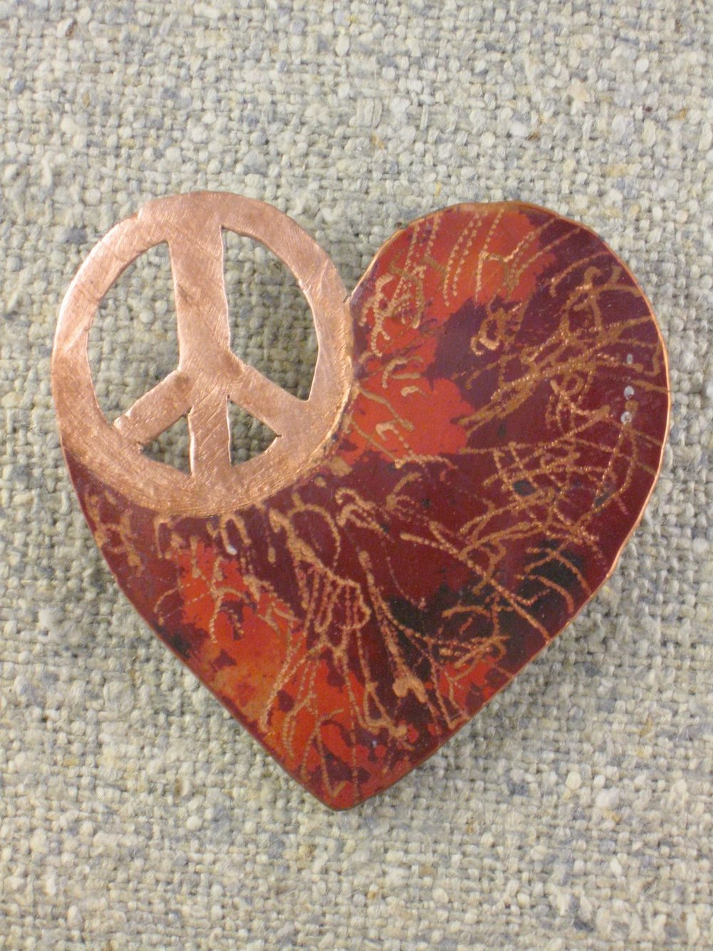 peaceful heart pin (large)