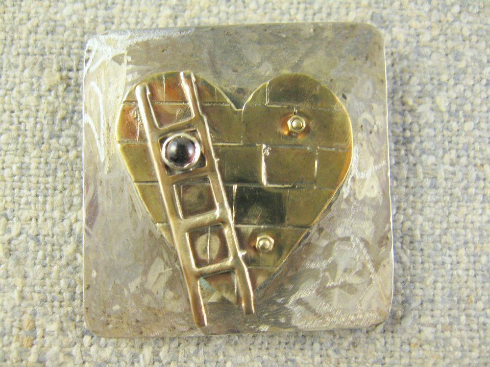 walled heart pin