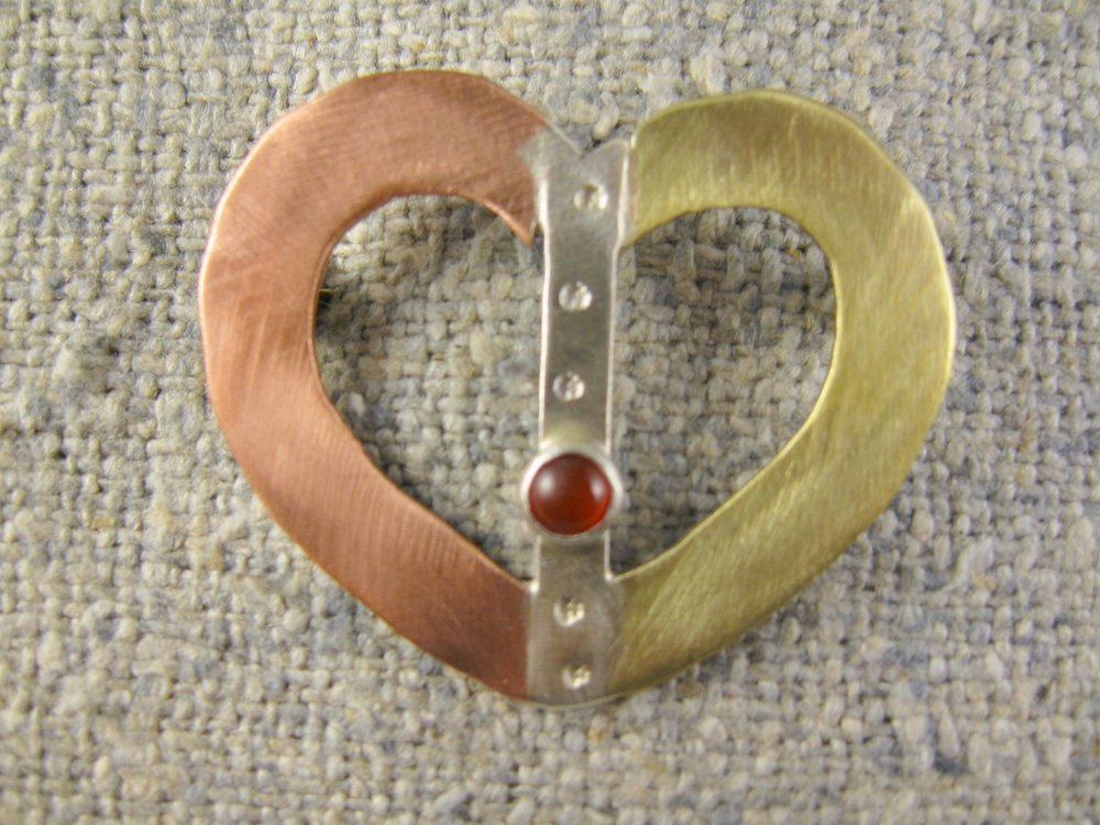 blended heart pin